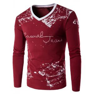 Long Sleeve Scrawl Printed V Neck Tee