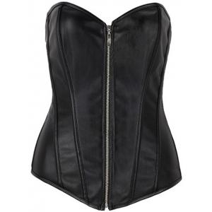Zippered Faux Leather Lace-Up Corset - Black - S