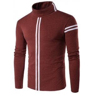 Roll Neck Varsity Stripe Long Sleeve T-Shirt - Oxide Red - M