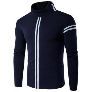 Roll Neck Varsity Stripe Long Sleeve T-Shirt - Cadetblue - M