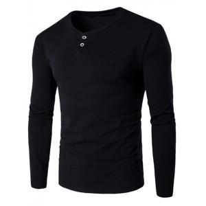 V-Neck Button Fly Long Sleeve T-Shirt