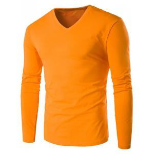 V Neck Long Sleeve Plain T Shirt - Orange - 5xl
