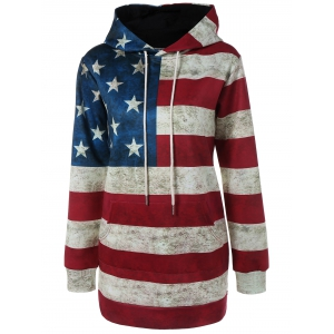 Hooded Flag Print Patriotic Dress - Deep Red - L