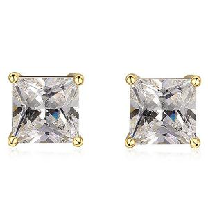 Rhinestone Square Stud Earrings - Golden - 8