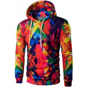 Drawstring Zigzag Graphic Hoodie - Colorful - Xl