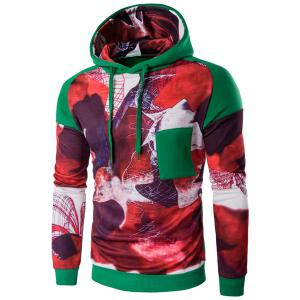 Printed Patchwork Design Pullover Hoodie - Green - Xl