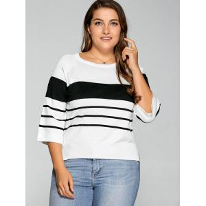 Plus Size Striped Knitwear - White - 2xl