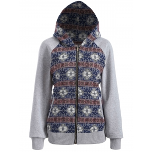 Zip Through Tribal Thin Cotton Zip Up Hoodie - Colormix - M