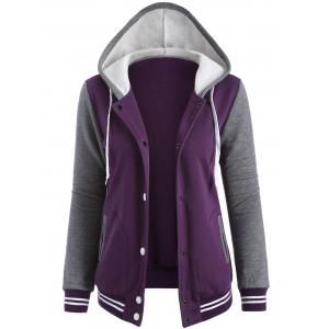 Contrast Sleeve Fleece Baseball Purple Hoodie Jacket - Purple - Xl