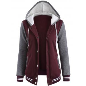 Contrast Sleeve Fleece Baseball Hoodie Jacket - Wine Red - Xl