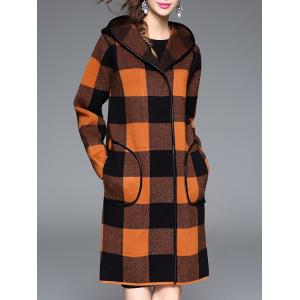 Checked Hooded Cashmere Coat - Orange - One Size