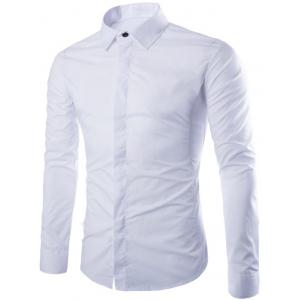 Shirt Collar Long Sleeve Fly Front Shirt - White - M