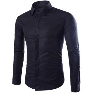 Shirt Collar Long Sleeve Fly Front Shirt