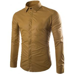 Shirt Collar Long Sleeve Fly Front Shirt - Khaki - M