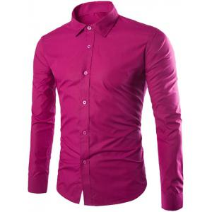 Single Breasted Shirt Collar Long Sleeve Shirt - Rose Red - L