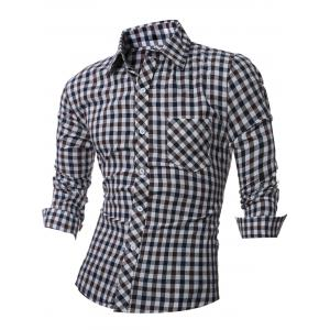 Casual Long Sleeve Turn-Down Collar Plaid Shirt