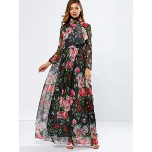 Vintage Chiffon Long Sleeve Floral Print Floor Length Maxi Prom Dress - Black - L