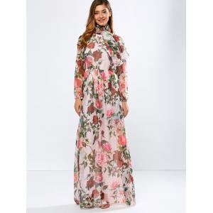 Vintage Chiffon Long Sleeve Floral Print Floor Length Maxi Prom Dress - Pink - Xl