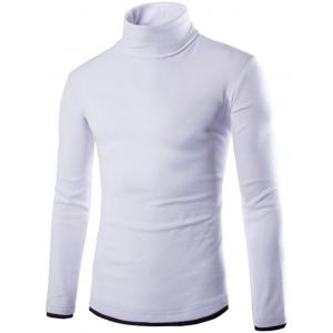 Faux Twinset Design High Neck Long Sleeve Knitwear - White - Xl