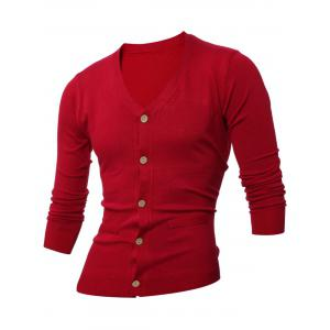 Slimming V Neck Button Up Cardigan - Wine Red - M