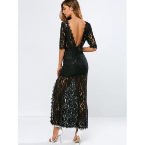 Lace Backless Slit Maxi See Through Evening Dress - Black - S
