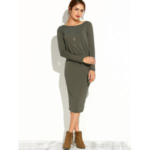Slash Neck Long Sleeve Pencil Dress