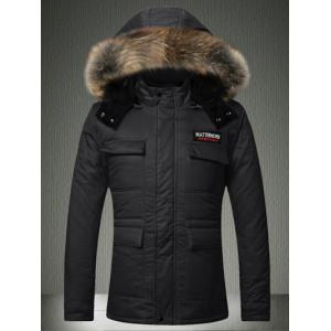 Furry Hood Applique Pockets Zip-Up Padded Coat