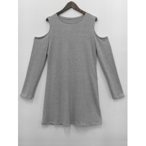 Cold Shoulder Knit Short Jumper Dress
