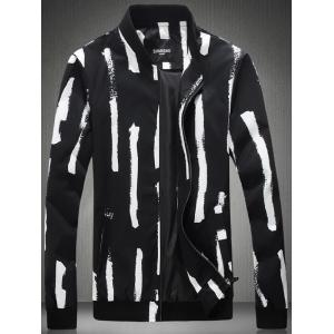 Plus Size Paint Stripe Print Zip-Up Jacket