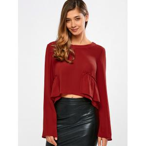 Frilly Peplum Long Sleeve Crop Top - Red - S