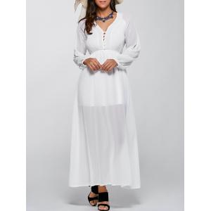 Long Sleeve V Neck Chiffon Casual Maxi Dress