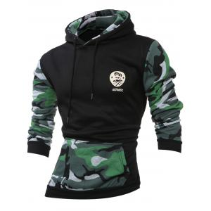 Camouflage Splicing Long Sleeves Hoodie - Blackish Green - S