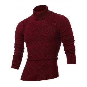 Rhombus Jacquard Turtle Neck Long Sleeves Sweater