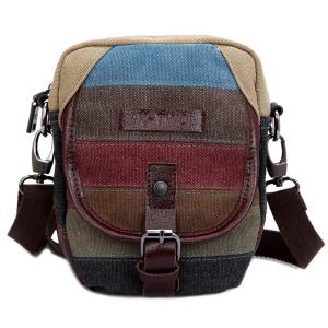 Buckle Striped Pattern Canvas Crossbody Bag - Brown