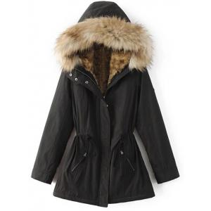 Faux Fur Lined Coat - Black - Xl