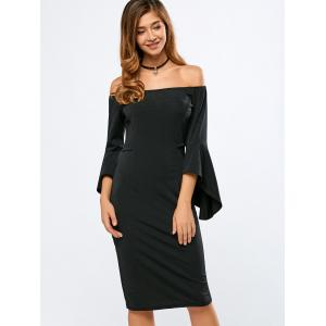 Off The Shoulder Bell Sleeves Bodycon Dress