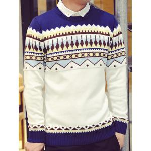 Rib Hem Zigzag Pattern Crew Neck Sweater