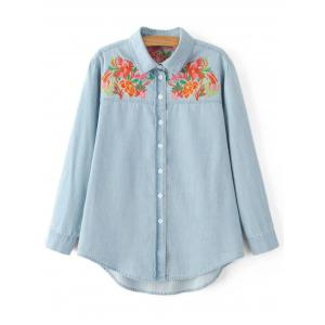 Oversized Flower Embroidered Yoke Light Denim Cowboy Shirt - Light Blue - S