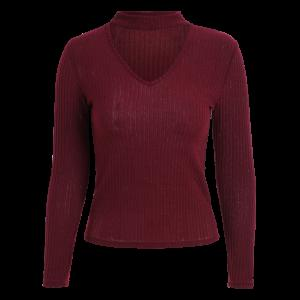 Rib Knit Choker Jumper - Wine Red - S