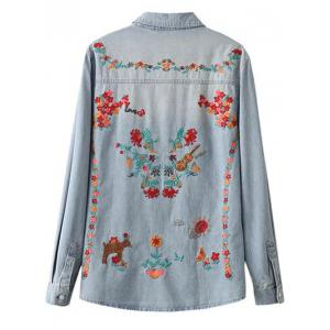 Oversized Embroidered Back Light Denim Shirt -