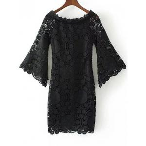 Floral Crochet Lace Dress with Sleeves - Black - S