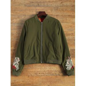 Embroidered Lined Quilted Bomber Jacket - Army Green - S