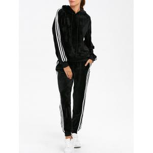 Sporty Velvet Hoodie and Running Jogger Sweatpants