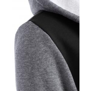 Contrast Sleeve Fleece Baseball Hoodie Jacket - BLACK XL