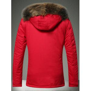 Furry Hood Applique Pockets Zip-Up Padded Coat - RED 2XL