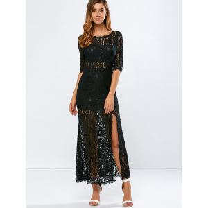 Lace Backless Slit Maxi See Through Evening Dress - BLACK 2XL
