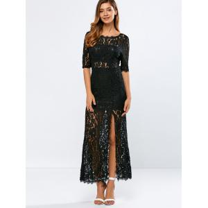 Lace Low Back Slit Maxi Cocktail Evening Dress - BLACK 2XL