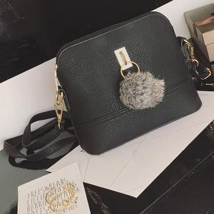 Faux Leather Pom Pom Crossbody Bag - BLACK