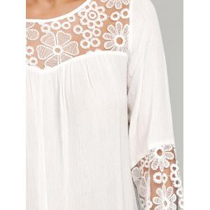 Lace Insert Smock Blouse - WHITE XL