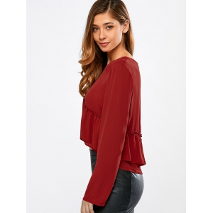 Frilly Peplum Long Sleeve Crop Top - RED L